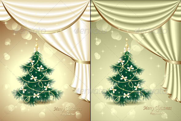 GraphicRiver Christmas Tree with Bows Stars Garland Light 5673138