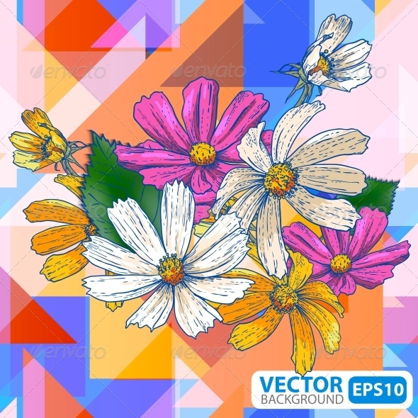 GraphicRiver Flowers on a Geometric Background 5673969