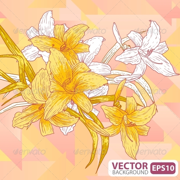 GraphicRiver Flowers on a Geometric Background 5674016