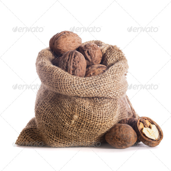 Walnuts in bag - Stock Photo - Images