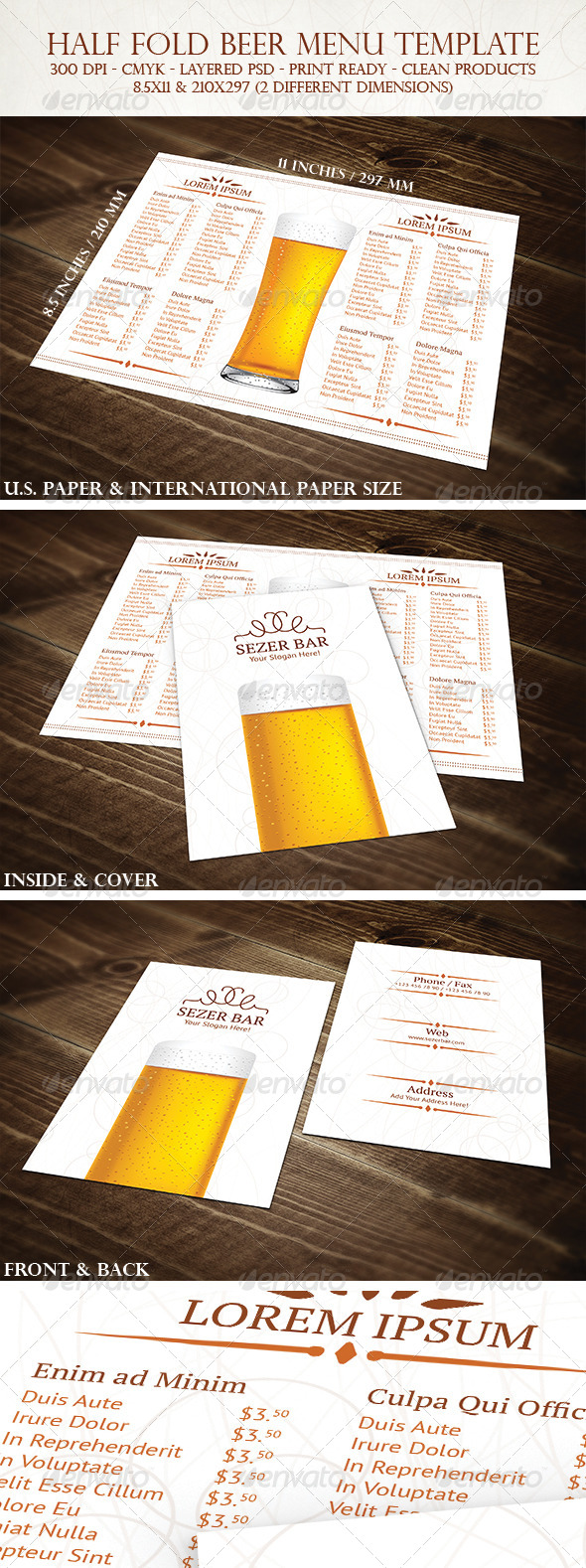 Half Fold Beer Menu Template - Food Menus Print Templates
