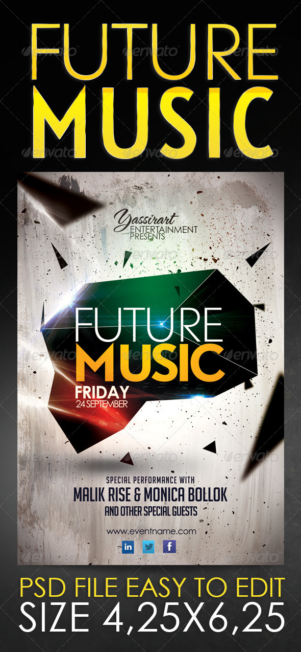 GraphicRiver Future Music Flyer Template 5674867