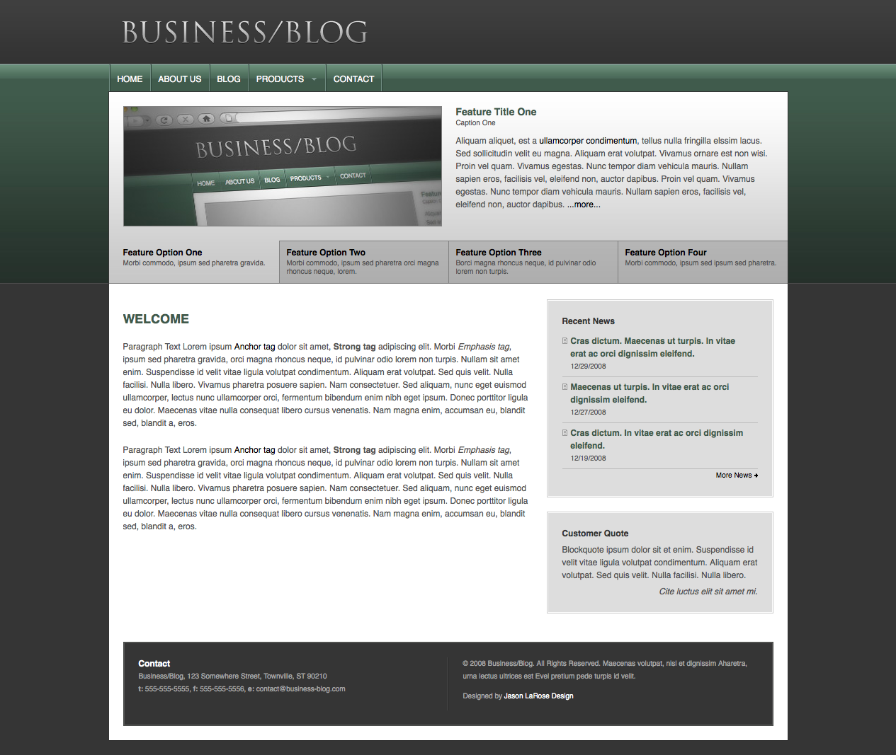 Business/Blog - This is the home page.