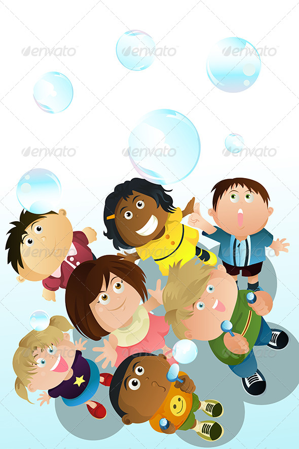 GraphicRiver Children Playing Bubbles 5675666