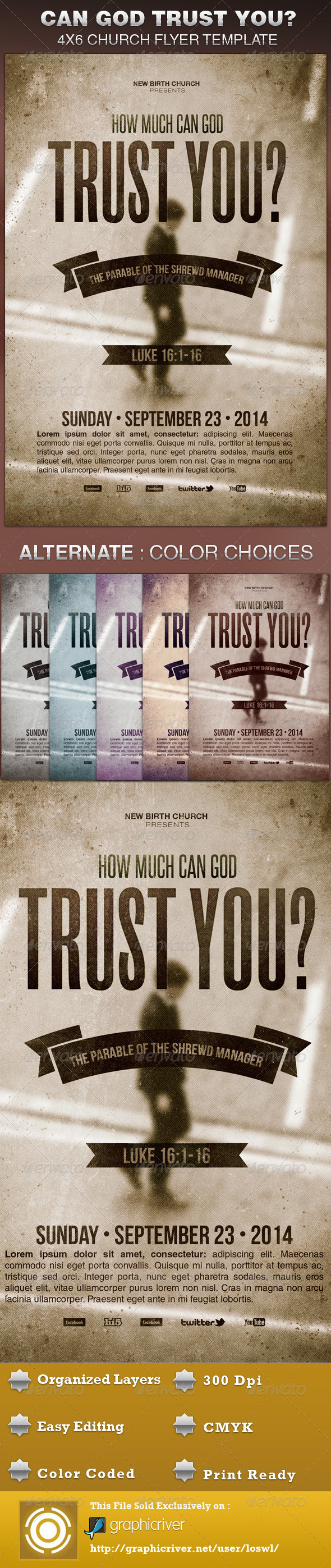 GraphicRiver How Much Can God Trust You Church Flyer Template 5675676