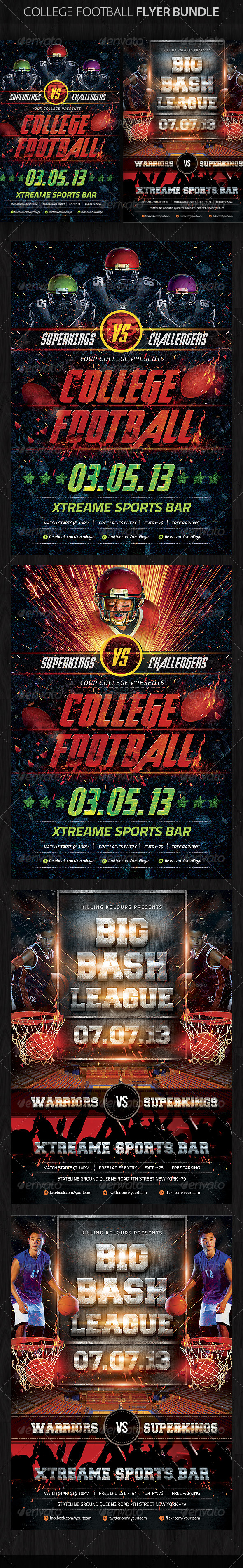 GraphicRiver College Football Flyer Bundle 5675767