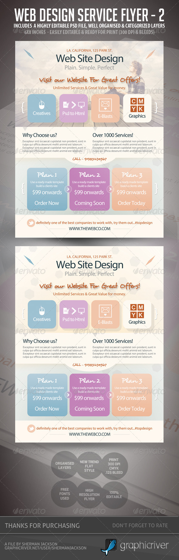 GraphicRiver Web Design Flyers Set 2 Flat Style 5676210
