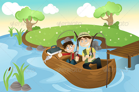 GraphicRiver Father and Son Going Fishing 5676212