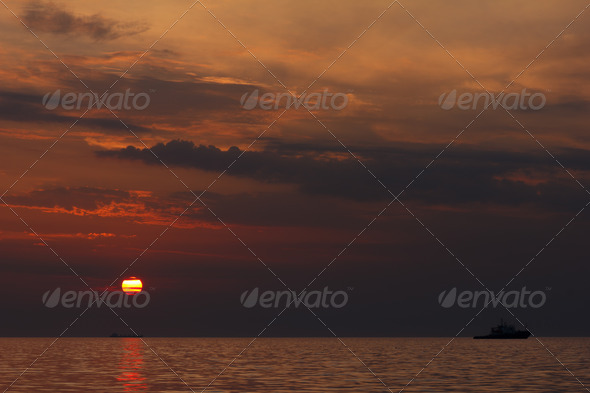 sunset over the sea - Stock Photo - Images