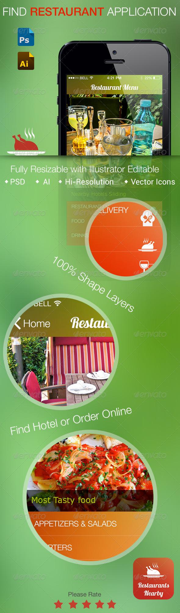 GraphicRiver Restaurant Flat UI Application 5663787