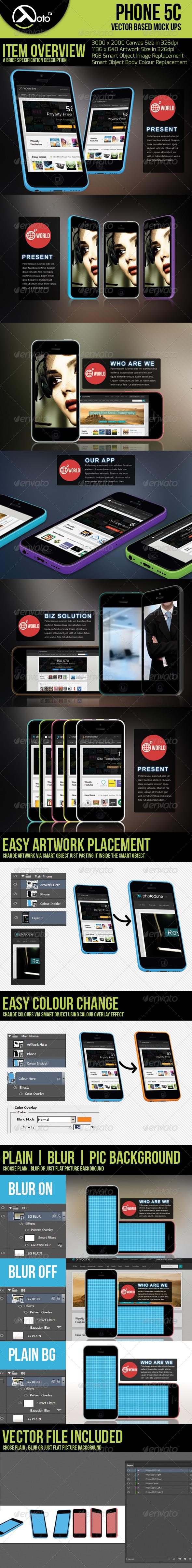 Phone 5c Vector Based Mock-up - Mobile Displays