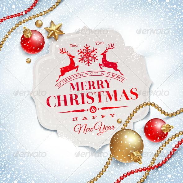GraphicRiver Christmas Greetings Card and Decor on Snow 5677432