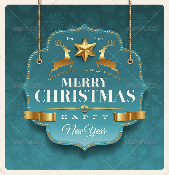 GraphicRiver Christmas Ornate Labels with Holidays Greetings 5677436