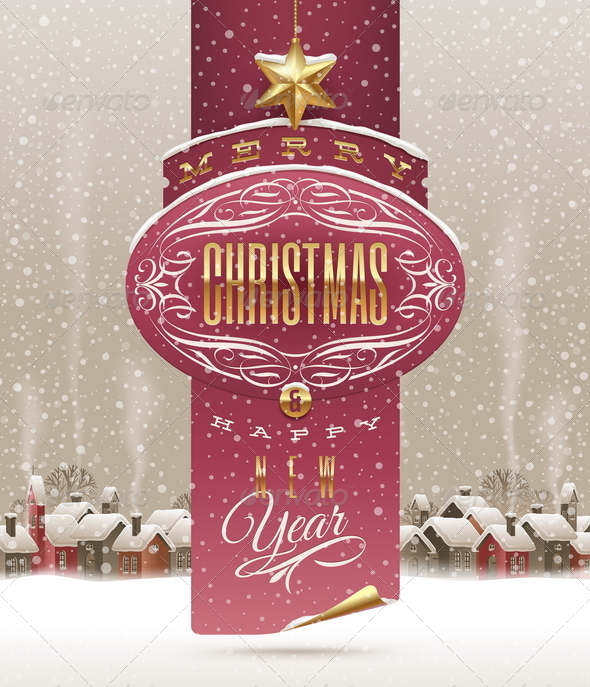 GraphicRiver Christmas Greetings Banner and Winter Village 5677922