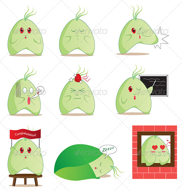 GraphicRiver Manga Anime Style Leaf Monster Mascot Emoticon 5678131