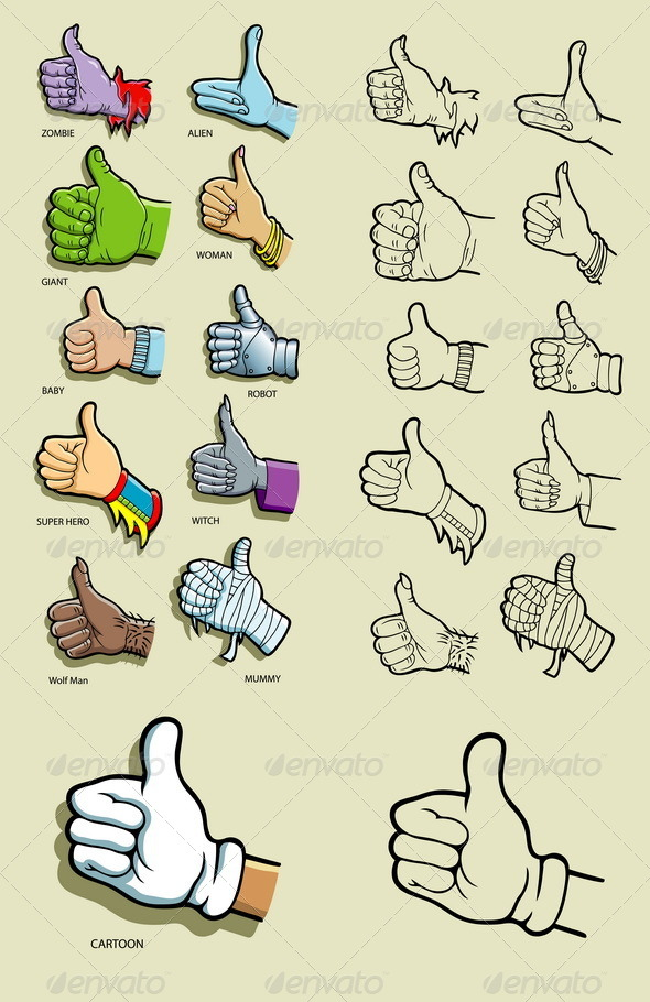 GraphicRiver Thumbs Up Hand Illustration 5678866