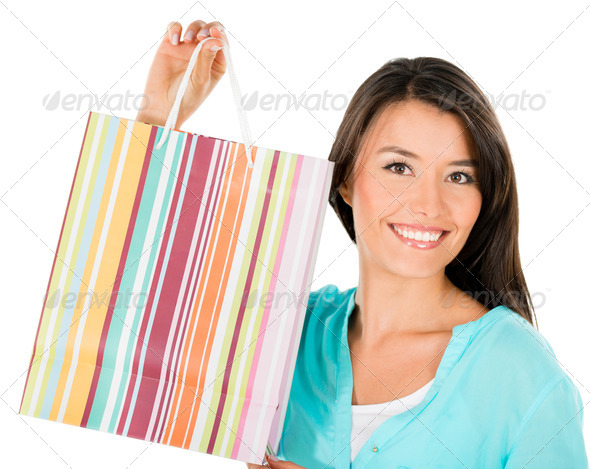 Happy shopping woman - Stock Photo - Images