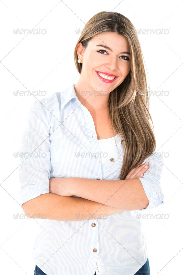 Confident woman smiling - Stock Photo - Images