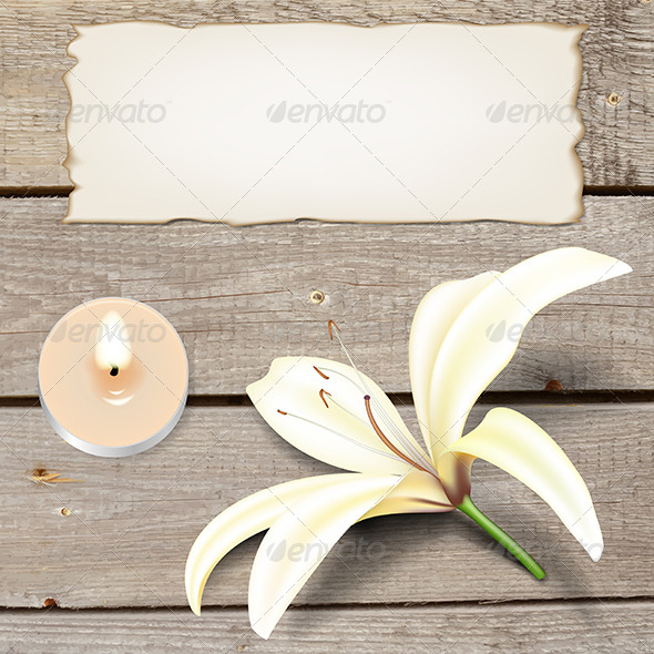 GraphicRiver Realistic Lily Flower with Candle and Old Paper 5673941