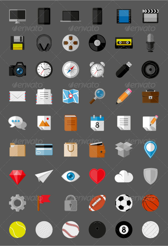 GraphicRiver Flat Icons and Pictograms Set 5679423