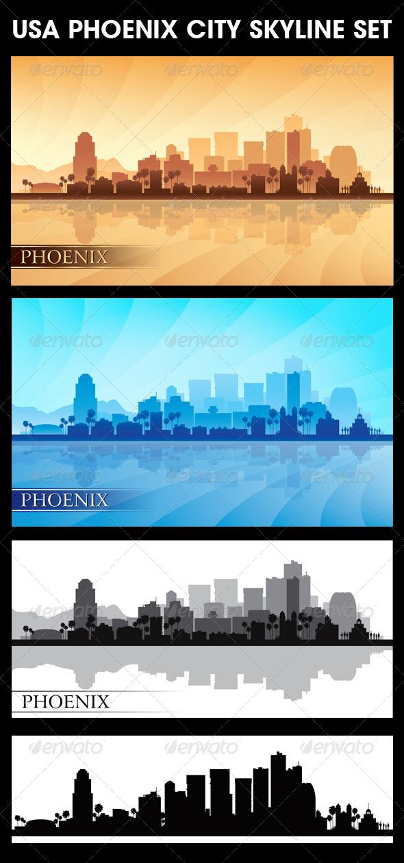 GraphicRiver Phoenix USA City Skyline Silhouettes Set 5679975