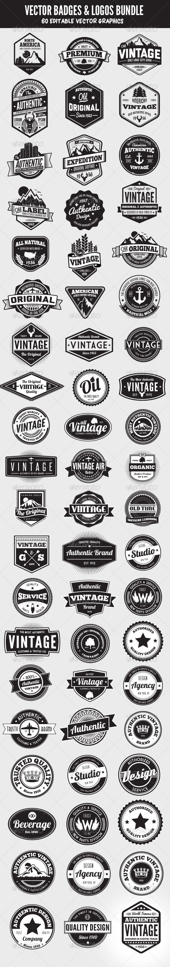 GraphicRiver 60 Badges and Logos Bundle 5657963