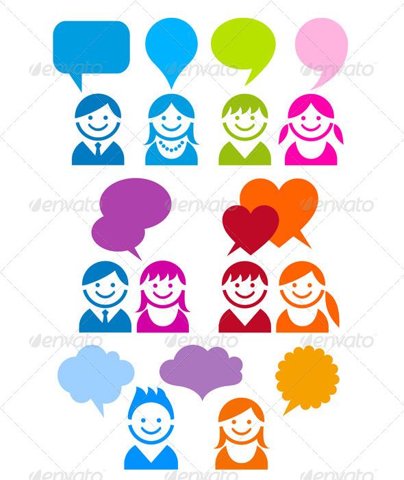 Communication People Icon Set