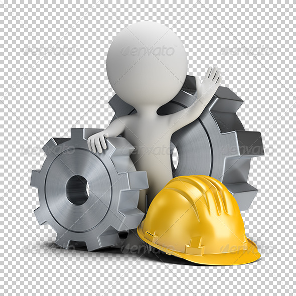 GraphicRiver 3D small people gears and helmet 5680237