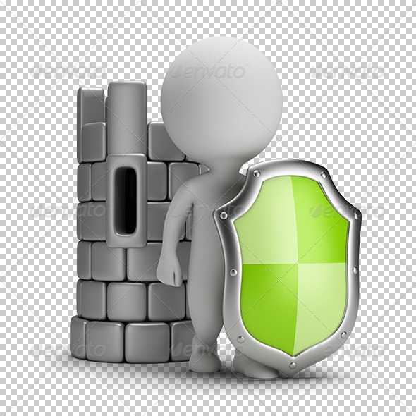 GraphicRiver 3D small people shield and a castle 5680294