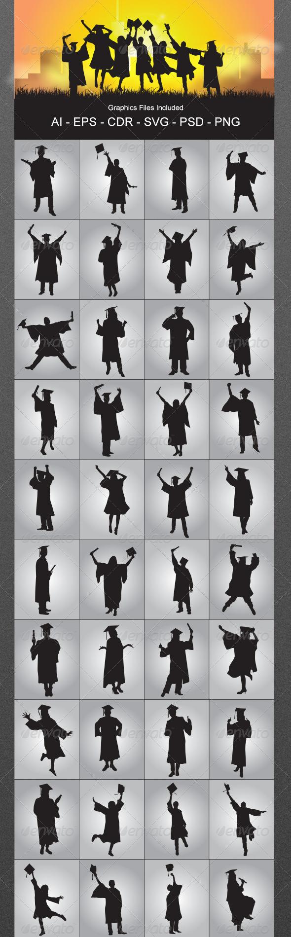 GraphicRiver Graduates Silhouettes 5680338
