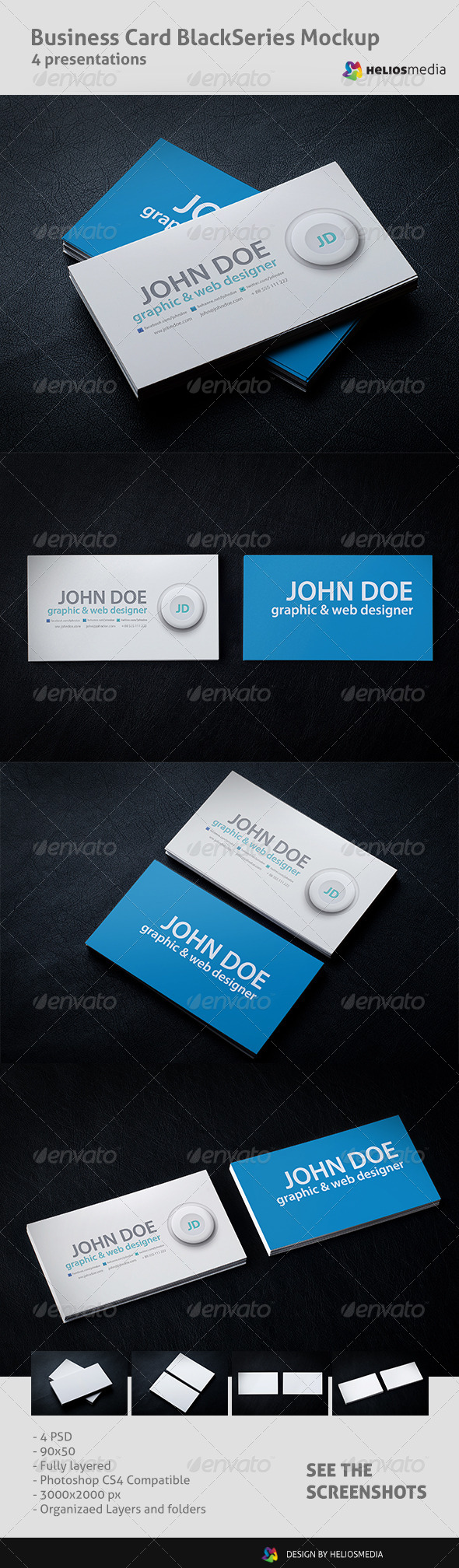 GraphicRiver Business Card BlackSeries Mockup 5680576