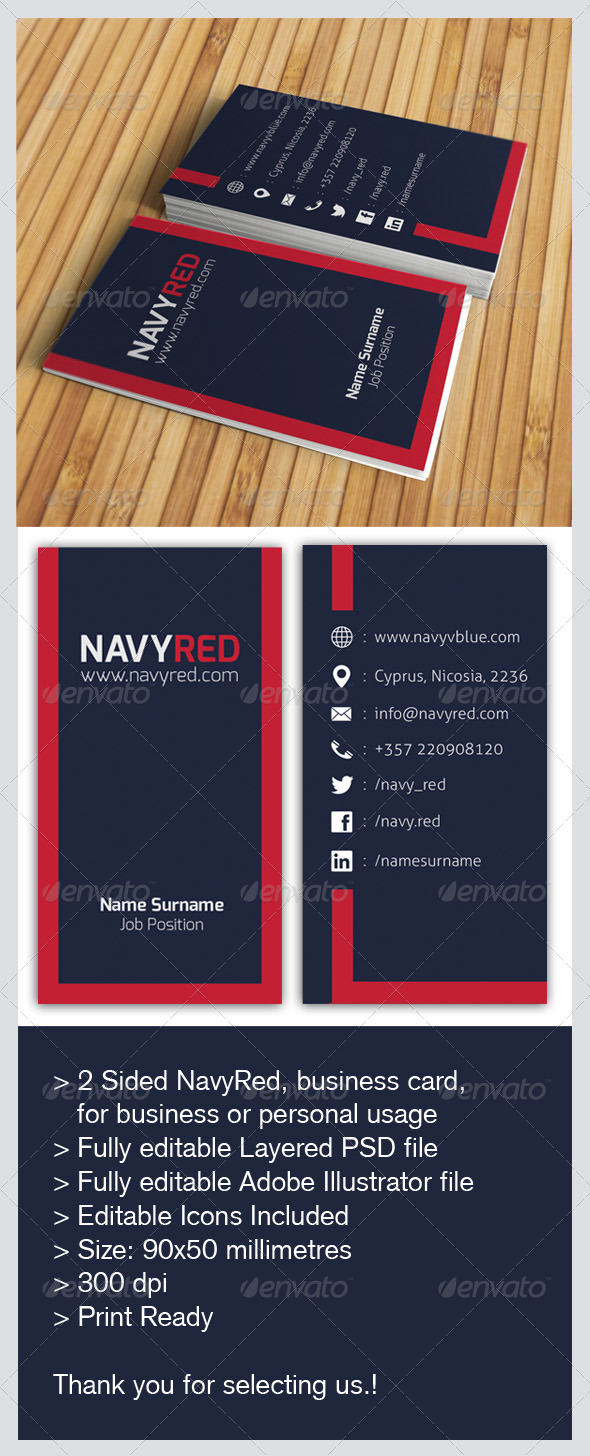GraphicRiver Navy Red Business Card 5680782