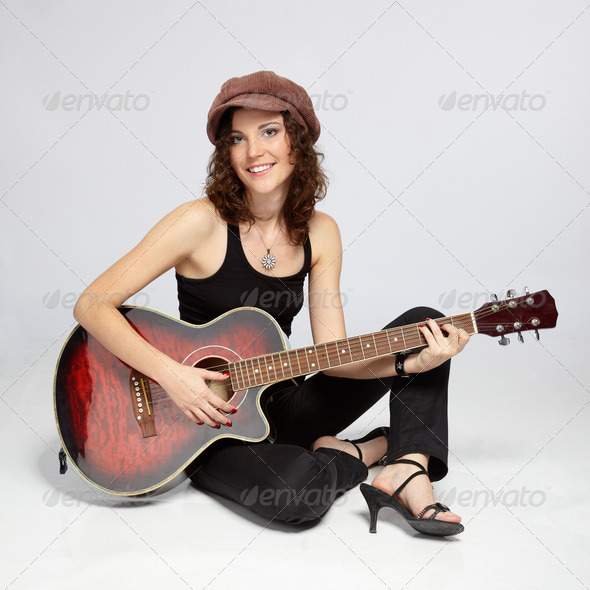 girl with guitar - Stock Photo - Images