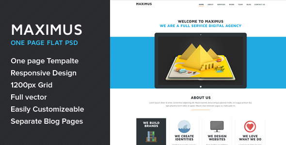 ThemeForest Maximus One Page Multipurpose Flat PSD Template 5680905