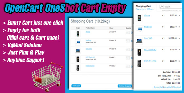 opencart oneshot cart empty