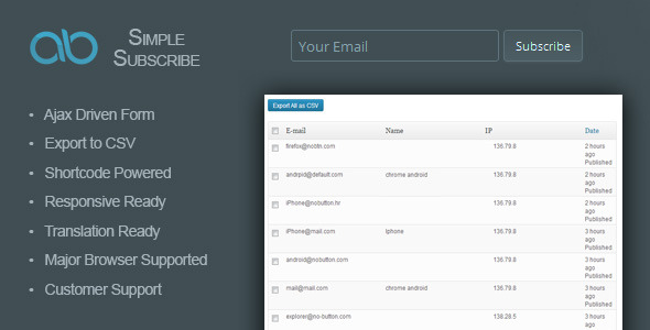 AB Simple Subscribe WordPress Plugin
