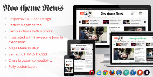 Noo News - Joomla 3 Magazine Blog News Template