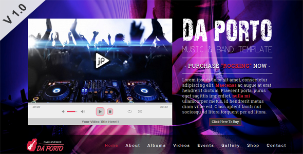 ThemeForest Da Porto One Page Music & Band Template 5608902