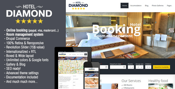 Hotel Diamond - Drupal Hotel Booking Theme - Drupal CMS Themes