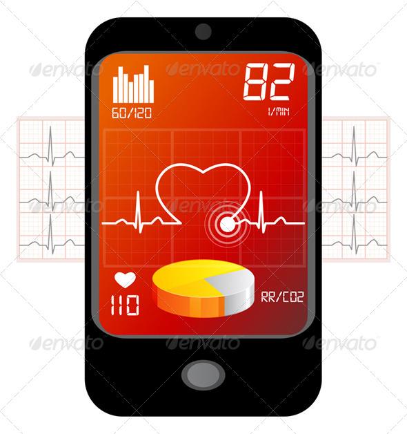 GraphicRiver ECG Analysis Over Mobile Phone 5684627