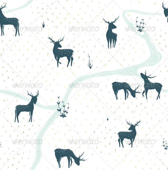 GraphicRiver Deers Landscape Delicate Seamless Pattern 5684662