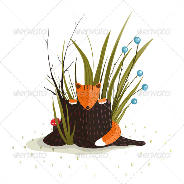 GraphicRiver Little Fox Sitting in Forest Behind a Stump 5684694