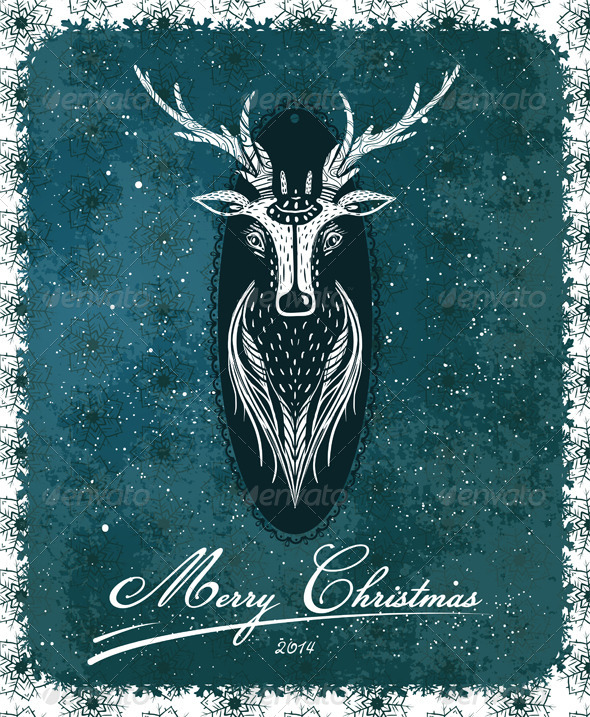 GraphicRiver Merry Christmas Vintage Deer Greeting Card 5684760