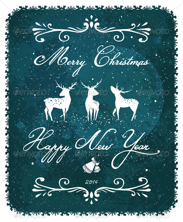 GraphicRiver Merry Christmas and New Year Vintage Deer Greeting 5684800