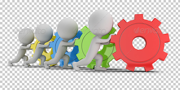 GraphicRiver 3D Small People Team with Gears 5684802