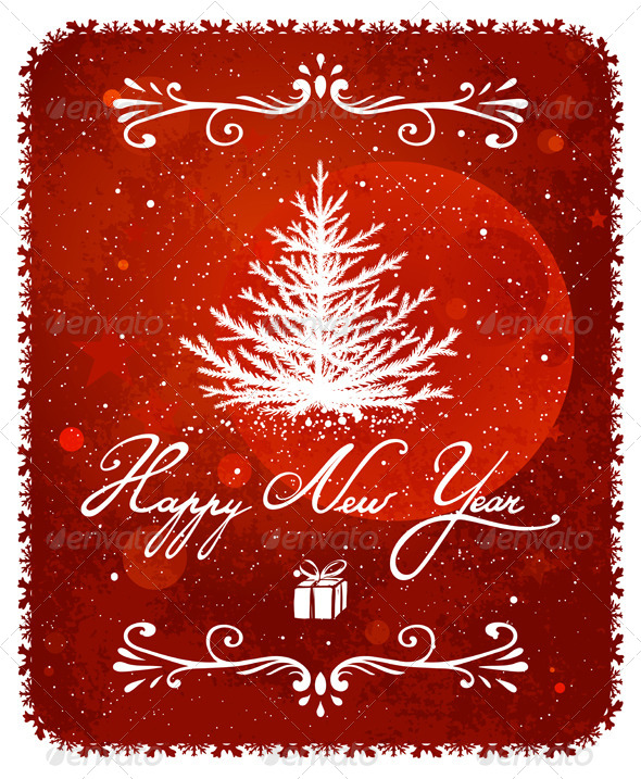 GraphicRiver New Year Tree Vintage Greeting Card 5684809