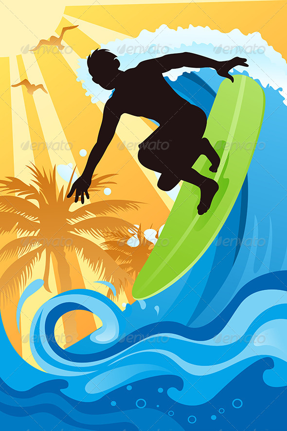GraphicRiver Surfer in the Ocean 5684814