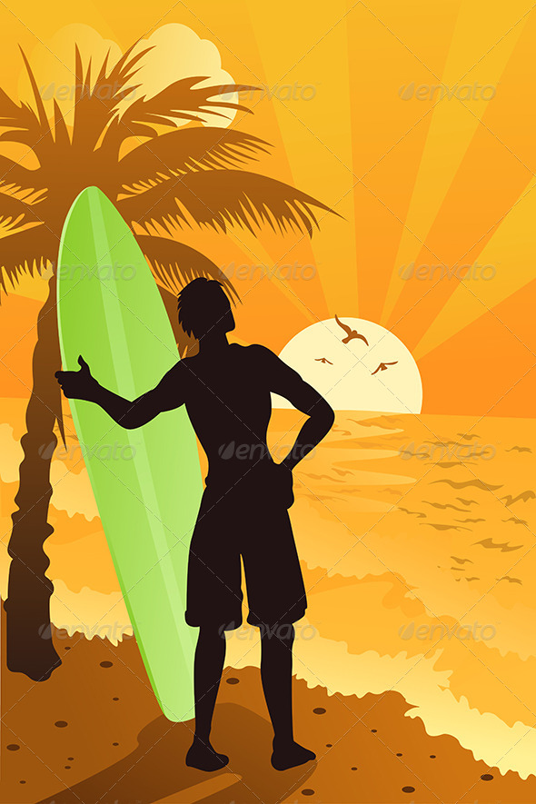 GraphicRiver Surfer in the Ocean 5684838