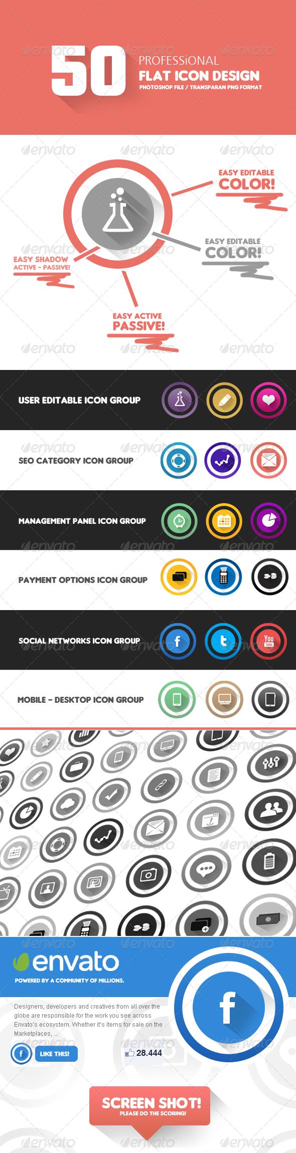 50 Piece Flat icon Design Kit - V1 - Icons