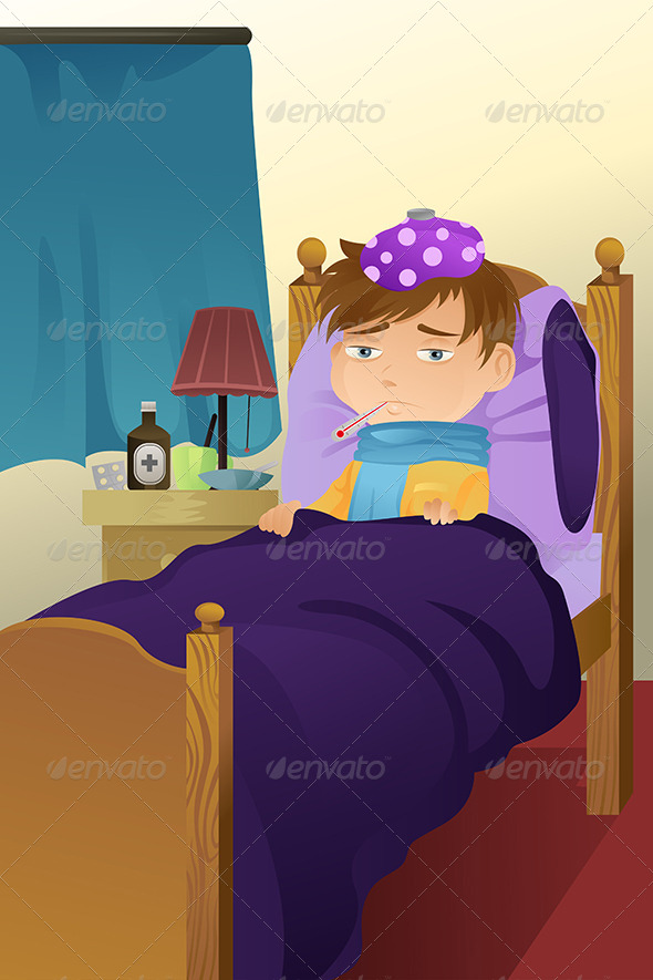GraphicRiver Sick Kid on Bed 5684855